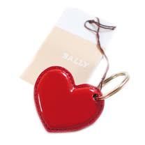 BALLY 愛心亮皮鑰匙圈(紅)