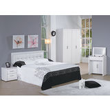 OZ 歐舒家居 Alex 5尺白色雙人三件房間組 (床頭片+床底+床頭櫃)