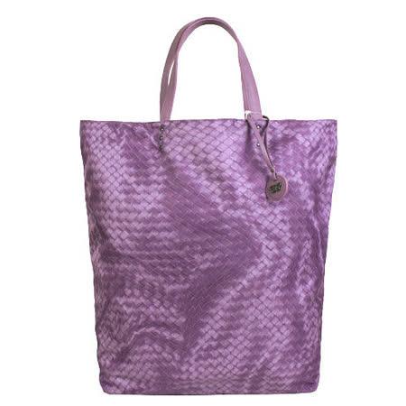 BOTTEGA VENETA 仿編織圖LOGO吊飾尼龍購物包(大/粉紫)