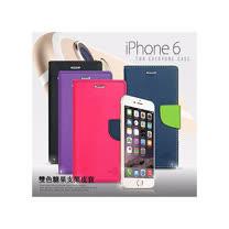 M-style Apple iPhone 6 (4.7吋) 雙色糖果 斜紋支架側翻皮套
