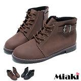 【Miaki】MIT 都會暢銷單扣拉鍊平底短靴踝靴休閒鞋 (咖啡/黑色)