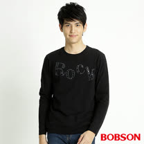 BOBSON 男款貼鋁片長袖上衣(黑32012-88)