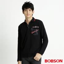 BOBSON 男款雙色領長袖POLO上衣(黑32014-88)