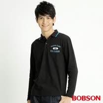 BOBSON 男款POLO長袖上衣(黑32021-88)