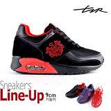 【韓國T2R】情侶熱銷款 9公分雙氣墊隱形增高休閒鞋 黑紅 5600-0077