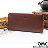 OMC -  韓國時尚精工牛皮原皮單拉鍊多層長夾