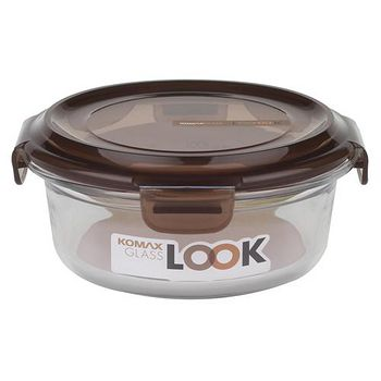 KOMAX 巧克力圓形強化玻璃保鮮盒560ml (59077)