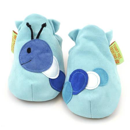 英國 Funky Feet 手工學步鞋 室內鞋 藍色毛毛蟲 6-24M