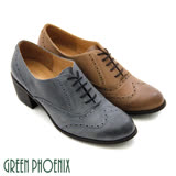 【GREEN PHOENIX】英倫學院風綁帶復古手染粗跟牛津鞋