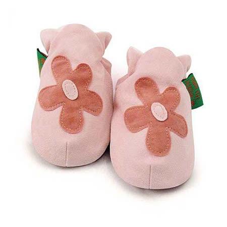 英國 Funky Feet 手工學步鞋 室內鞋 粉紅花朵 6-24M
