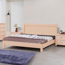 HAPPYHOME 雅典床片型栓木實木5尺雙人床009-5(床頭+床架)