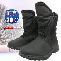 【簡約時尚】女新款 中筒簡約抓皺專業保暖雪鞋、雪靴(附冰爪)_ SN192 黑色
