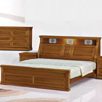 HAPPYHOME 悍馬樟木色5尺雙人床053-1(床頭+床架)