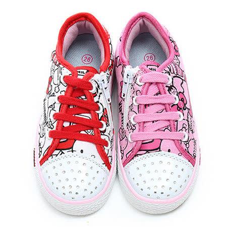 童鞋城堡-Hello Kitty中大童水鑽塗鴉風帆布鞋714879