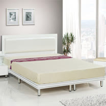 HAPPYHOME 珍珠純白色5尺雙人床081-9+081-10(床頭+床架)