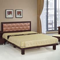 HAPPYHOME 天王星胡桃色5尺雙人床082-6+082-2(床頭+床架)