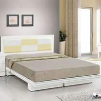 HAPPYHOME 金格純白色5尺雙人床083-7+083-2(床頭+床架)