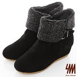 SM-麂皮毛絨釦帶楔型短靴-黑色
