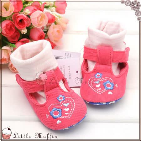 學步鞋 套腳棉襪刺繡花朵娃娃鞋 止滑軟底