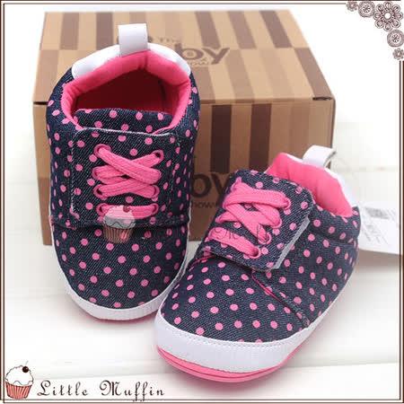 學步鞋 桃紅點點牛仔免綁帶球鞋 止滑膠底外出鞋 SMI365