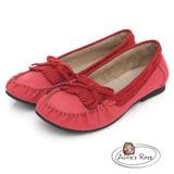 Alice's Rose 經典流蘇莫卡辛鞋-紅色