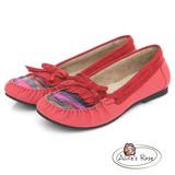 Alice's Rose 經典流蘇毛線莫卡辛鞋-紅色