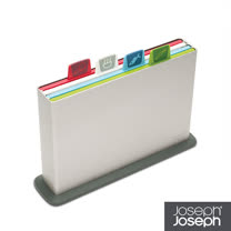 Joseph Joseph英國創意餐廚★檔案夾止滑砧板(小銀)-附凹槽設計★60026