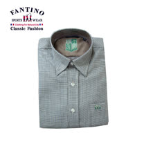 【FANTINO】男裝 精緻刺繡縫線羊毛襯衫 (綠.咖) 244548-244549