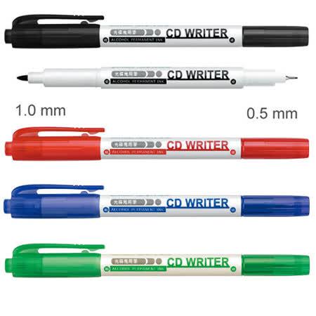 【雄獅 SIMBALION】CD30 雙頭萬用光碟筆/油性筆 (1.0mm/0.5mm)