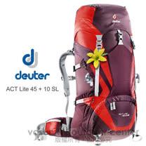 【德國 Deuter 】ACT Lite 45 + 10 SL 輕量拔熱式透氣背包/登山健行背包.自助旅行背包/Aircontact 輕量行拔熱透氣系統_紫/紅 3340215