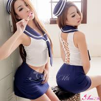 【Anna Mu】美背綁帶四件式海軍角色扮演服