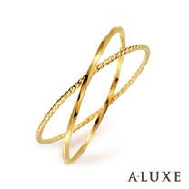 A-LUXE 亞立詩鑽石 Shine日系輕珠寶 黃K金 雙環線戒女戒