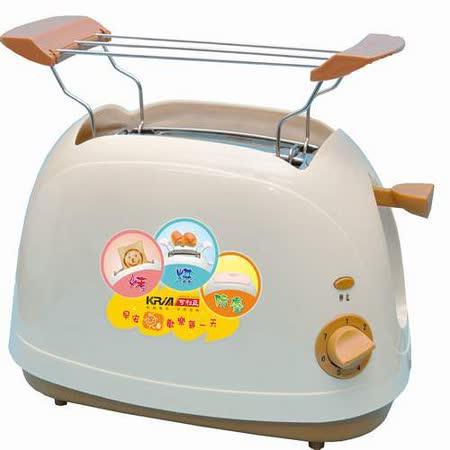【KRIA可利亞】烘烤二用笑臉麵包機KR-8003(咖啡色)