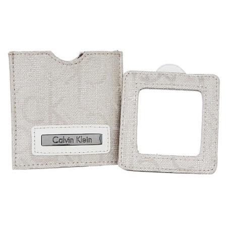Calvin Klein灰色 銀絲布質CK logo印花萬用隨身鏡