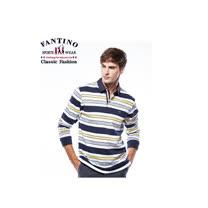 【FANTINO】男裝 撞色橫條舒適棉質POLO衫 (黃) 441112