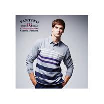 【FANTINO】男性線條舒適棉質POLO衫 (灰紫) 441122
