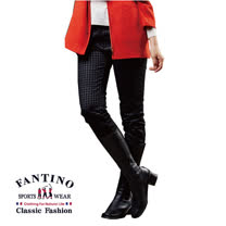 【FANTINO】女裝 千鳥格紋優質棉褲  (黑千鳥格) 483303
