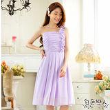 【白色戀人中大尺碼】紫色單肩滾花邊雪紡小禮服