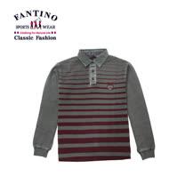 【FANTINO】男裝 仿舊線條POLO衫(酒紅.藍)  441335-441336