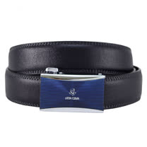 SINA COVA 老船長橫紋閃耀藍自動扣牛皮紳士皮帶SC11505-2-黑色