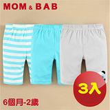 (購物車)【MOM AND BAB】頑皮熊貓純棉五分短褲(三件組)(6M~24M)