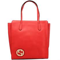 GUCCI BORSA金G-logo直立拉鍊牛皮肩背包(橘紅)
