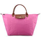 Longchamp 短提把中型水餃包-泡泡粉色