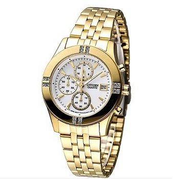 CITIZEN 氣質仕女3眼計時晶鑽腕錶 -IP金