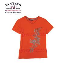 【FANTINO】女款 舒適彈性印花休閒上衣 (卡其.桔) 471106-471107