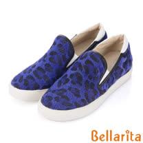 Bellarita.豹紋厚底乳膠休閒鞋-藍