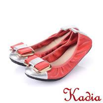 Kadia.金屬羊皮拼接平底娃娃鞋-紅×銀