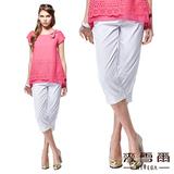 【麥雪爾】氣質淑女蕾絲布花七分褲(二色)-白