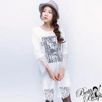 【Betty Boop貝蒂】假兩件蕾絲緹花棉質長版T恤(共二色)
