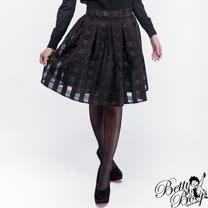 【Betty Boop貝蒂】方格微透腰鬆蓬蓬裙(共二色)
